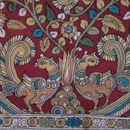 "Kalamkari, kalam (pen in persian) and kari (craftmanship).Andhra Pradesh craft evolved during Mughals & the Golconda sultanate. The ""kalam"" is used for free hand drawing of the subject and filling in the colours, is entirely hand worked. Only natural dyes are used. It's done only when there is sunlight as these paintings are dried in direct sunlight."