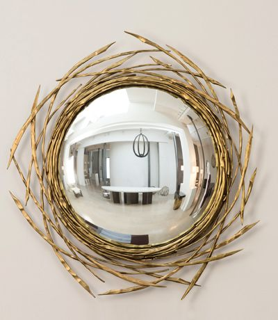 Herve Van der Straeten Miroir Brindille 468 Edition of 60 - 2013 Golden-brown patina bronze and Curved mirror  OR bevelled edged flat mirror Diameter 43.30 inches