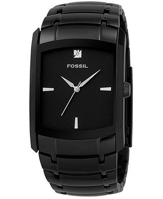 Fossil Watch, Men's Diamond Accent Black Ion Plated Stainless Steel Bracelet FS4159