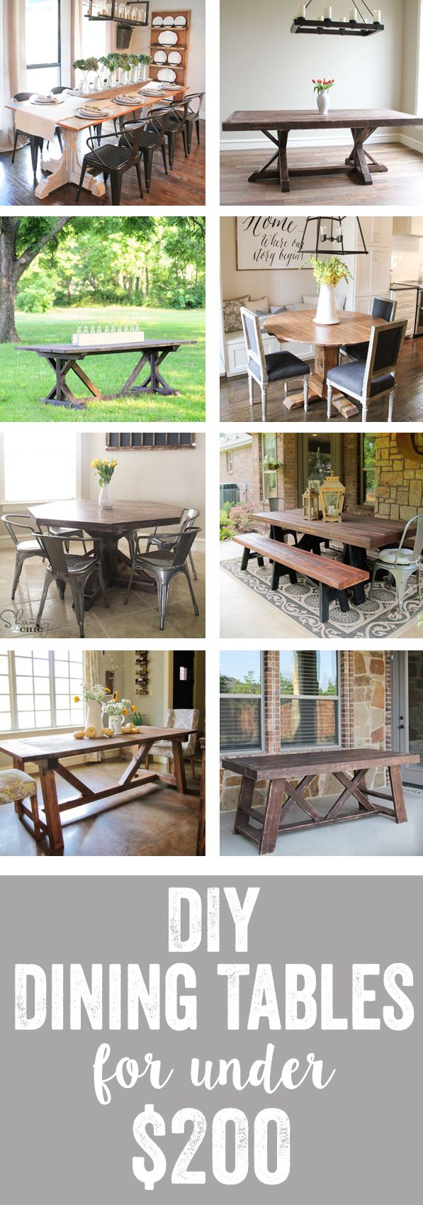 Free Plans with full instructions and tutorials on how to build your own DIY dining table!  There are so many to choose from and each table has a free plan with detailed instruction.  You can build a dining table for a fraction of the cost.  They have plans for dining tables, kitchen tables, outdoor tables and more.  This is a great website for woodworking, decorating and DIY!  Free plans and full tutorial at www.shanty-2-chic.com!