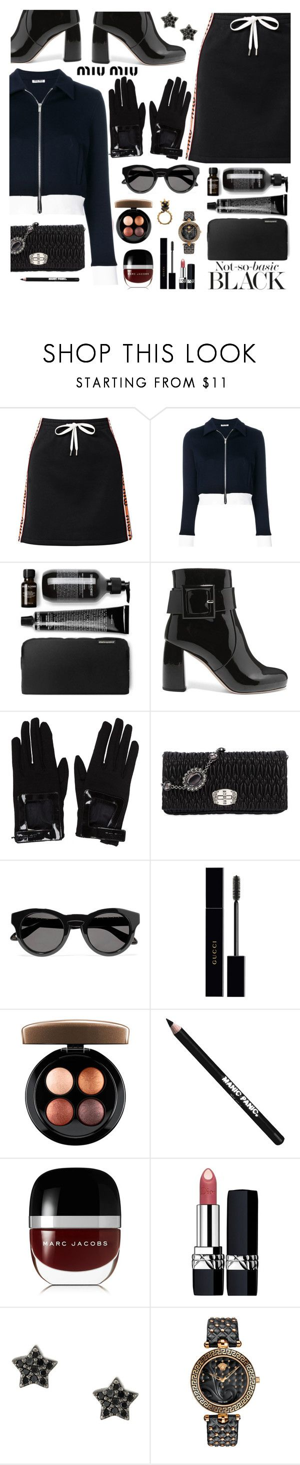 """Not So Basic Black"" by juliehooper ❤ liked on Polyvore featuring Miu Miu, Givenchy, Gucci, MAC Cosmetics, Manic Panic NYC, Marc Jacobs, Christian Dior, Astley Clarke, Versace and miumiu"