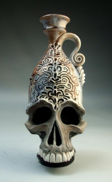 skull face jug