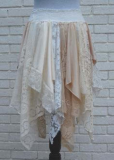 Its using table cloth laces to make a skirt.
