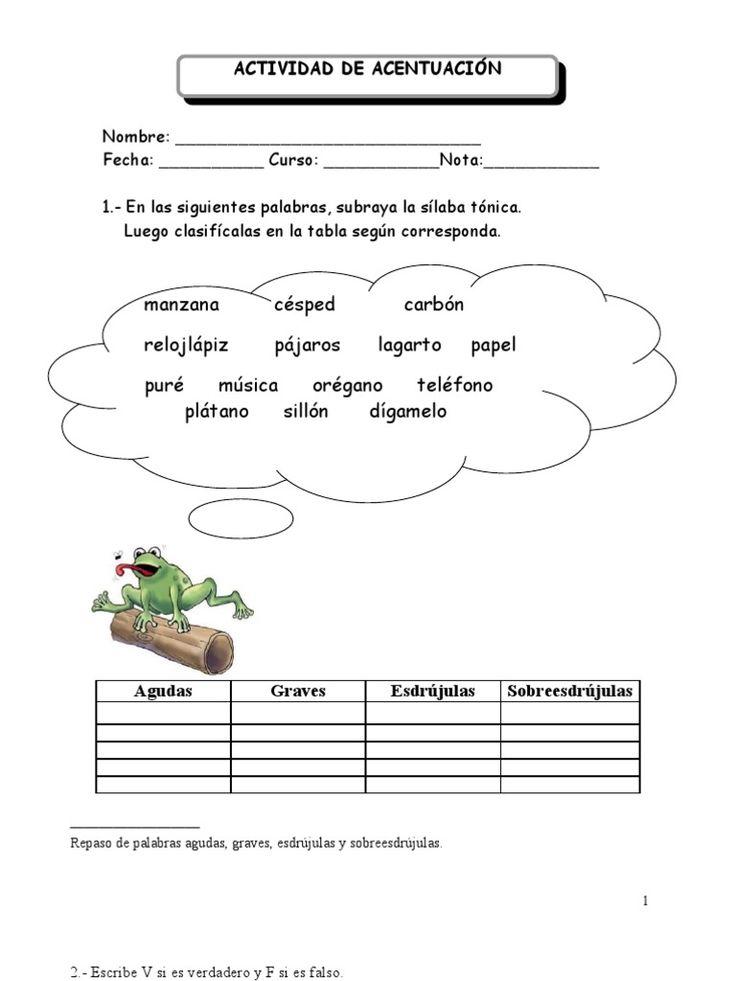 Resultado de imagen de practicas de clasificación acento prosodico y ortografico para niños de primaria