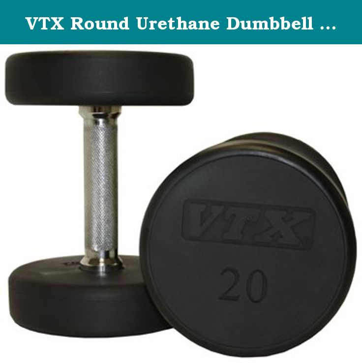 VTX Round Urethane Dumbbell (65 lbs.). Round Head Urethane Encased Dumbbell. Chrome Straight Steel Handle. Ergonomically engineered for a customized feel that delivers maximum comfort. Commercial quality at an affordable price. 3 year warranty.