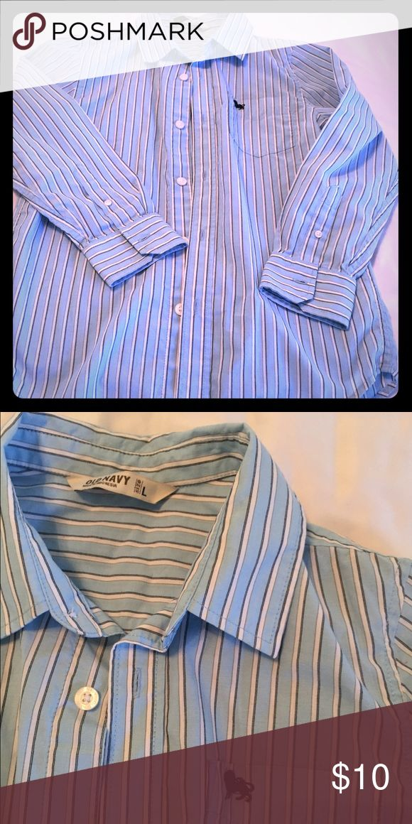 Boys Old Navy Blue Striped Buttoned Dress Shirt Boys Old Navy Blue striped long sleeved collared dress shirt. Size is youth L, hardly worn and in great condition. Old Navy Shirts & Tops Button Down Shirts
