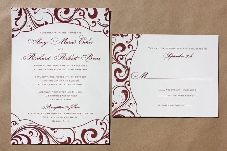 Burgundy Swirl Pattern with Fun-Shaped Frame Wedding Invitations