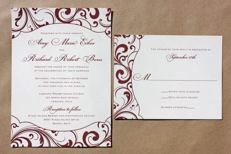 Burgundy Swirl Pattern with Fun-Shaped Frame Wedding Invitations