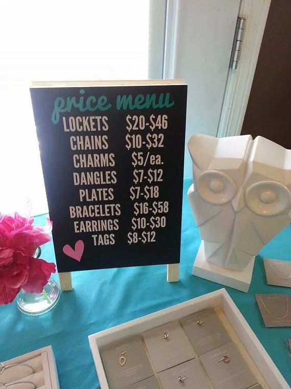 I need to make my own! Use chalkboard paint so prices and items can be updated as needed. The perfect thing to complete your display table! A quick glance will help you customers know the price range for each product. Sign measures