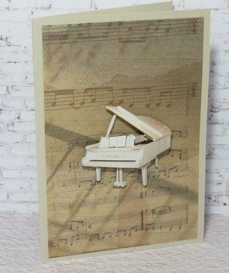 M11 Handmade  Greeting , Birthday , Gift , Card  , Piano , Music ,