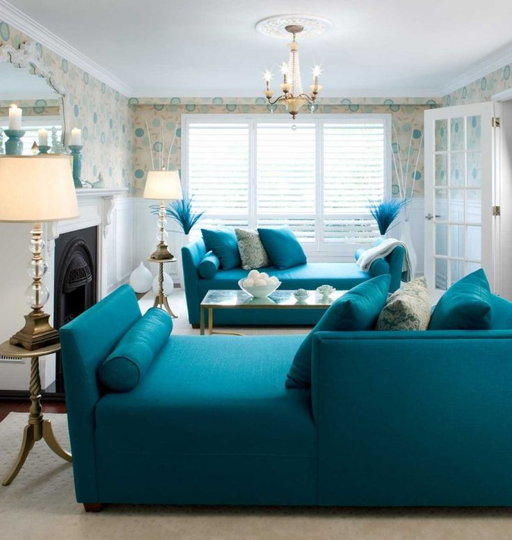 Teal Bathroom Ideas   Beautiful Living Room Decor With Fireplace Patterned Wallpaper Blue ...