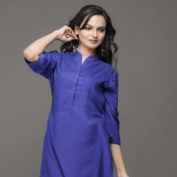 Blue Cotton Rayon Readymade Kurti