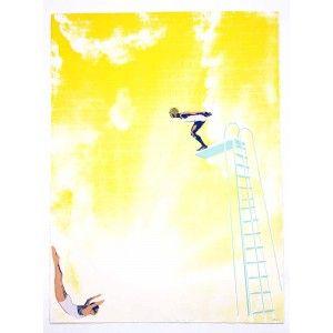 Anna Marrow Yellow Diving Board Art Print Limited edition screenprint - available to buy online at Everything Begins.     #fineartprint #screenprint #art #artprint #artwork #artforsale #buyartonline #blue #yellow #colourful #divers #diving #sport #swimming #people #artforinteriors #wallart #walldecor #gicleeprint #limitededition
