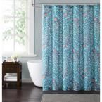 Jaclyn Geo 72 in. Teal and Coral Shower Curtain, Teal  And  Coral