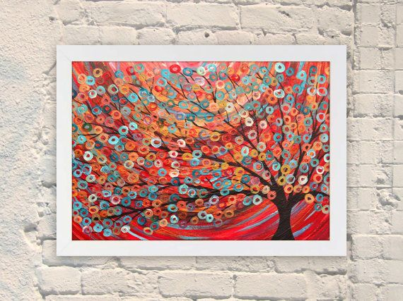 Large Giclee Art Print  Red Abstract Tree Painting  by louisemead, £20.00