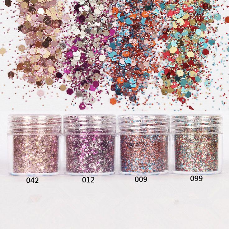 2016 Nieuwe DIY 10 ml/Box 4 Kleuren Nail Glitter Poeder Roze Rose rode Gemengde Pailletten Manicure Nail Art Tips Nail Art Decoratie Set