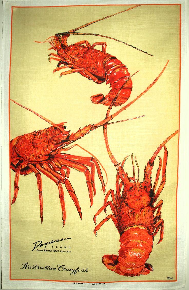 Australian Crayfish Shellfish Lobster Ocean Kitsch Tea Towel - Vintage Czech Linen Souvenir Beach Tea Towel - New Old Stock Mint! by FunkyKoala on Etsy