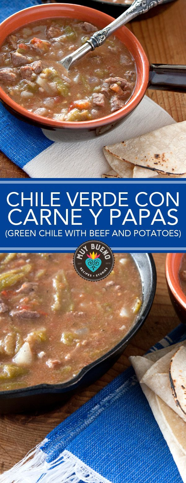 Chile Verde con Carne y Papas (Green Chile with Beef and Potatoes). Its soup and stew season and this dish really hits the spot this time of year. This dish is similar to a beef stew, but with a punch of spice from the roasted green chiles. Not only is it delicious, but I also love the way it perfumes my home as it cooks. This dish gives you all the comfort and flavor of old-world Mexico.