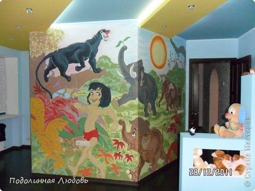 Интерьер Роспись роспись стены в детской внучат Гуашь фото 1