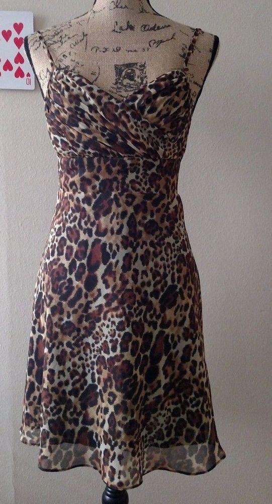 Guess New York Womens Sun Dress Mini Spaghetti Strap 7 Polyester Lined Leopard #Guess #BeachDressSundress #Clubwear