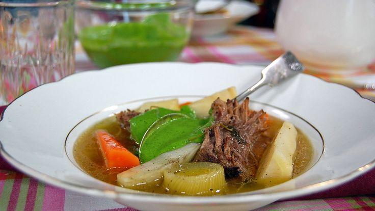 Trykkokt bibringe, rotgrønnsaker og persillekrem