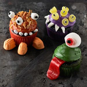 Mini Monster Cupcakes From Better Homes and Gardens, ideas and improvement projects for your home and garden plus recipes and entertaining ideas.
