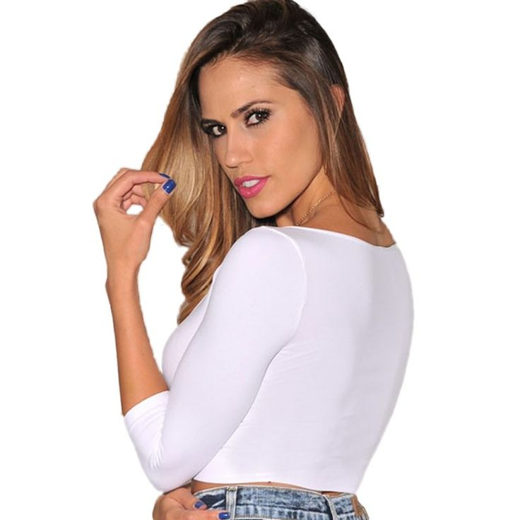 New Autumn long sleeve T shirt Women Black White Green Bodycon Shirts Short Tee Shirt Crop Top Casual T-shirt tops (4)