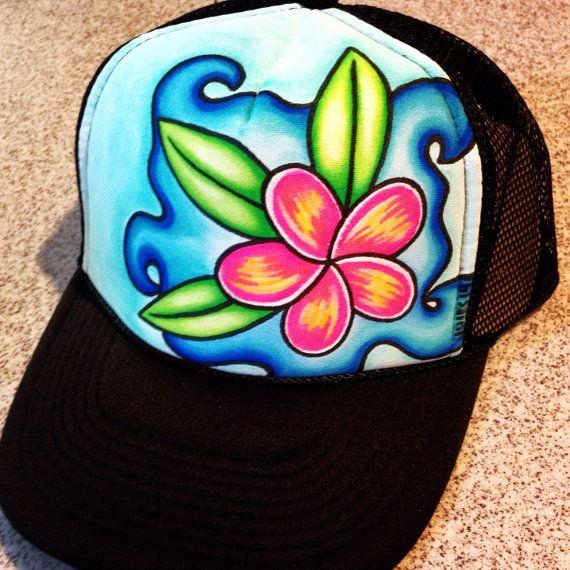 Plumeria splash handpainted trucker hat by JulesJewelsJewelry