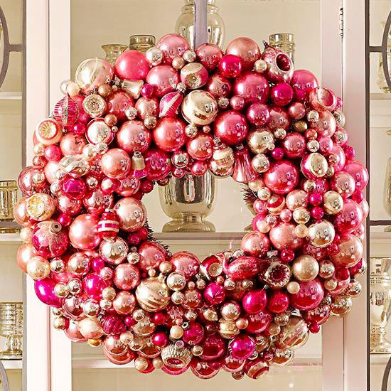 Make a wreath with ornaments! Love this Pink Ornament Wreath || Better Homes & Gardens