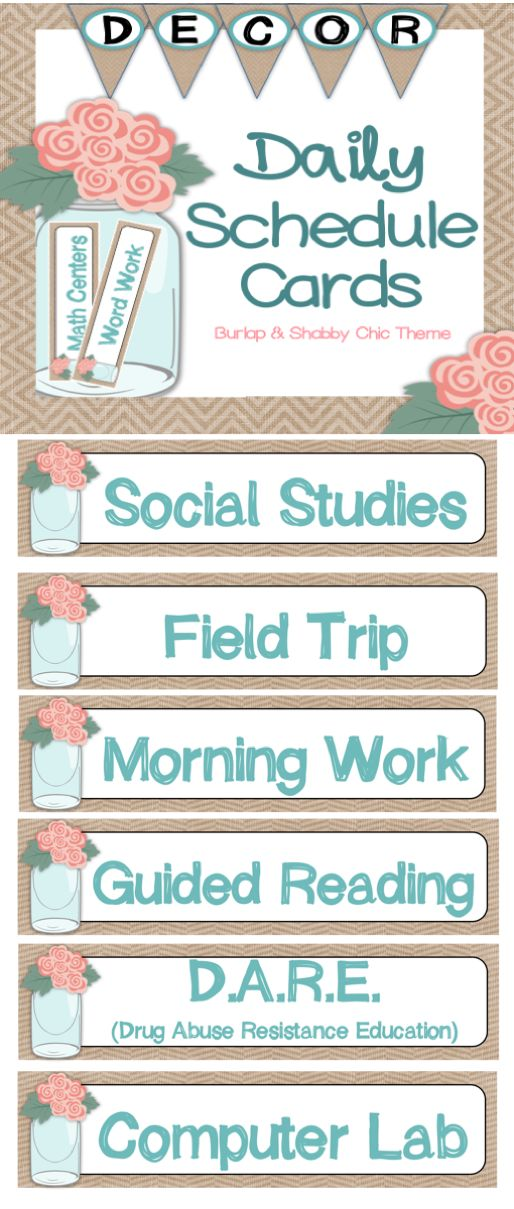 These Daily Schedule Cards will keep your class on task and compliment your Shabby Chic and Burlap Themed Classroom. Complete with 50+ Daily Schedule Cards, these schedule cards are easy to assemble: just print, cut, laminate, trim, and hang in your standard pocket chart!