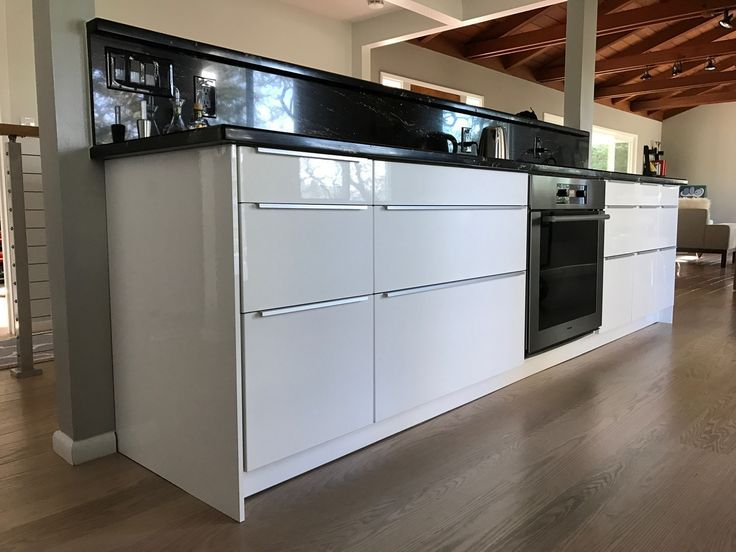 Finished And Completed Ikea Kitchen Sektion Cabinets Ringhult White High Gloss Fronts With Blankett Handle White Ikea Kitchen Ikea Kitchen Ikea Kitchen Design