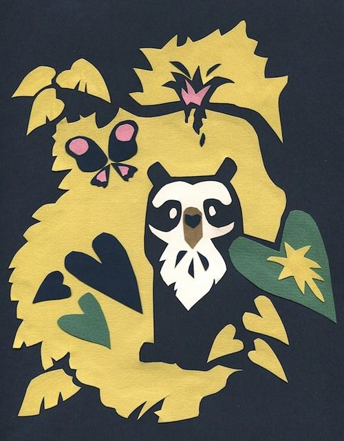 But more often he stays safely hidden at home, among the lush cloud-forests of the Andes, which is where we shall leave him on our way to another beast. Cut paper.