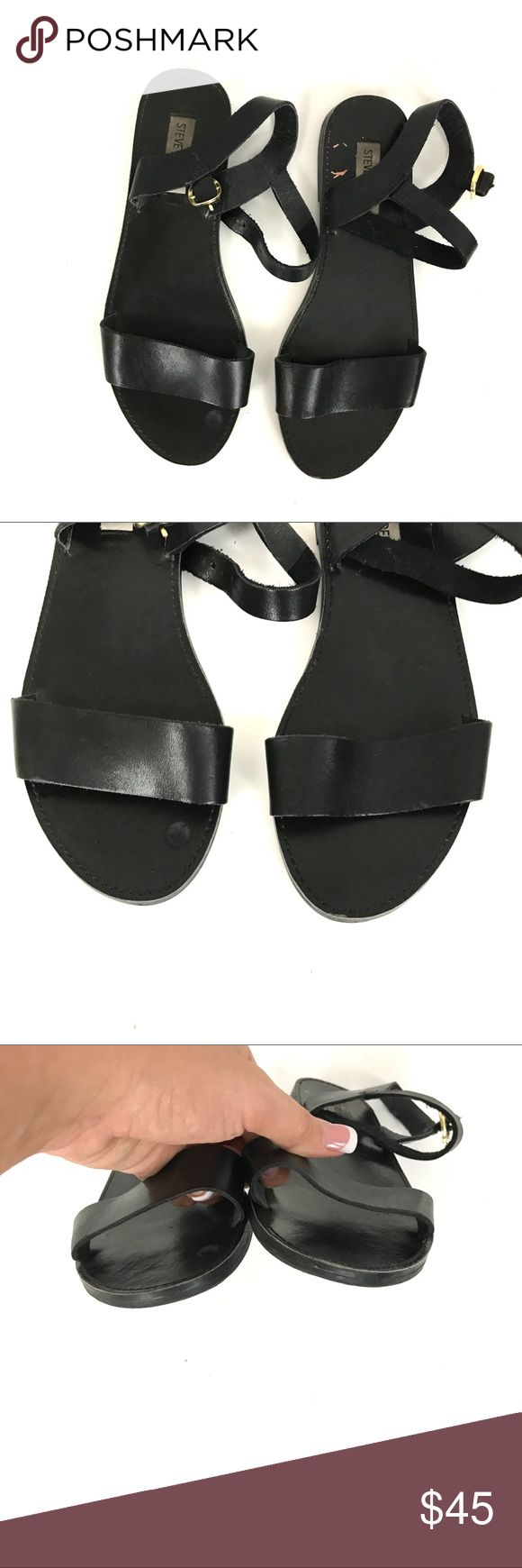 Steve Madden black ankle strap leather sandals Black leather. Strap across toes and ankle strap. Style name condon size 8. Gently used. Wear to the bottoms and light light wear to the straps. Steve Madden Shoes Sandals