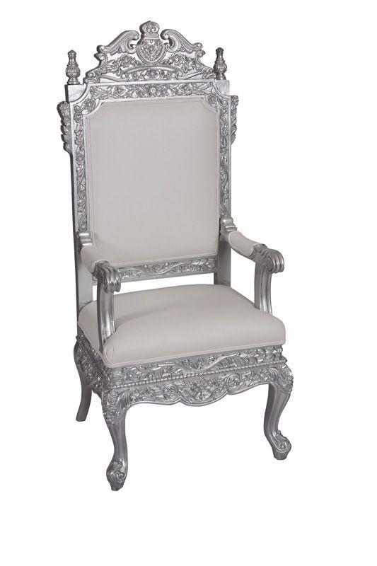 "Maharaja Chair - Silver 64""H x 26""L x 26""D | Chairs ..."