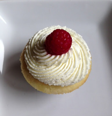 White Cupcakes with Whipped Mascarpone, Raspberry, and White Chocolate