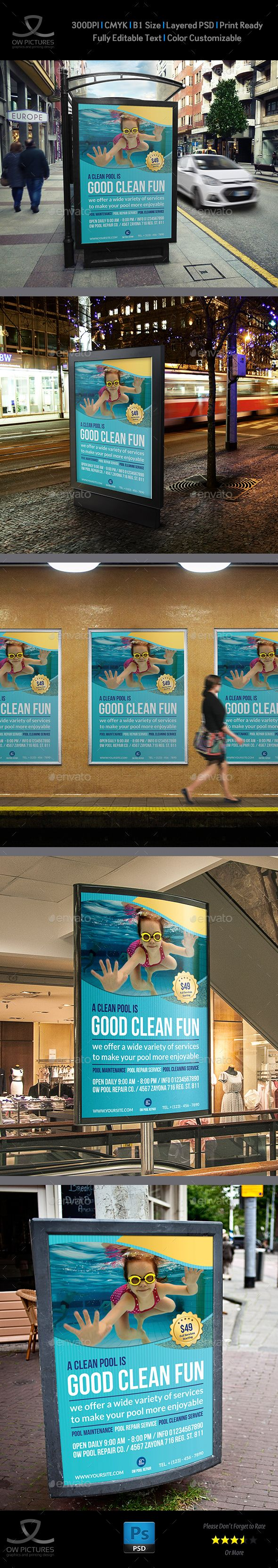 Swimming Pool Cleaning Service Poster Template