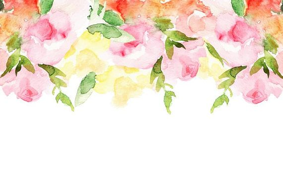 Watercolour Flower Border Background Clip Art Digital Download