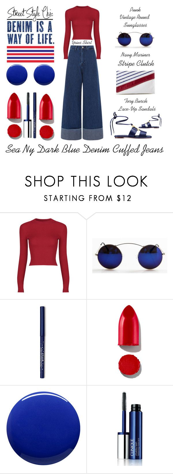 """Sea Ny Dark Blue Denim Cuffed Jeans"" by latoyacl ❤ liked on Polyvore featuring Sea, New York, Rodin, Lauren B. Beauty, Clinique and Tory Burch"