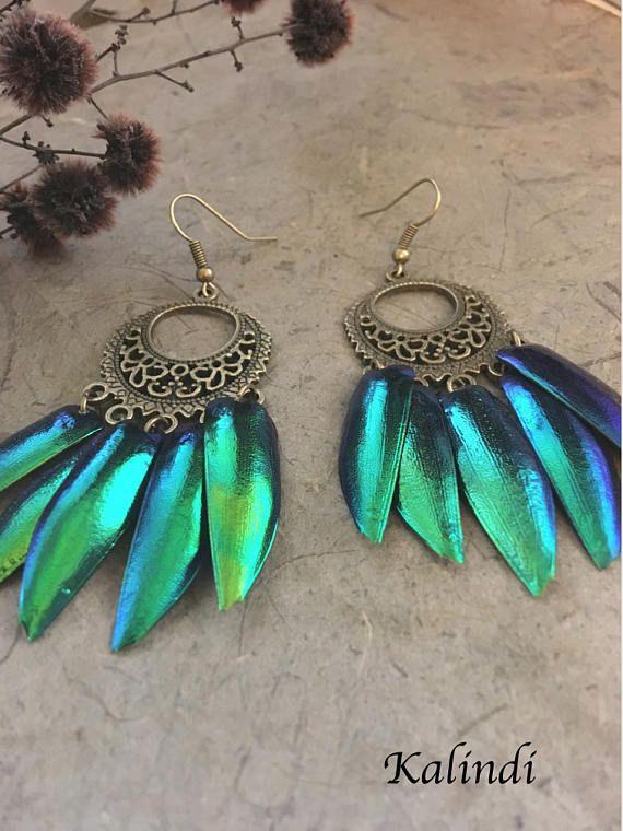 Jewel beetle earrings, wings of beetle, scarab beetle wing