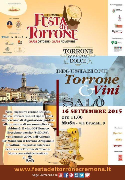 A Salò mercoledì 16 settembre 2015 la Degustazione Torrone & Vini per l'anteprima della Festa del Torrone @gardaconcierge