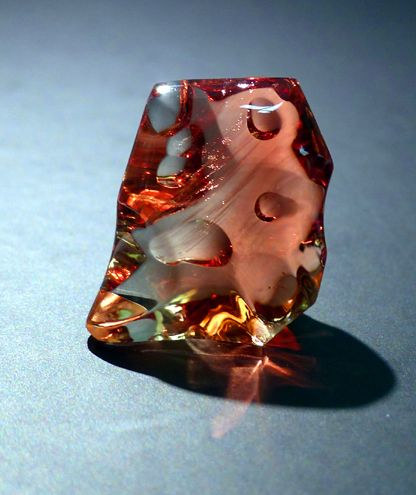 Sunstone, triclinic tectosilicate, plagioclase feldspar, MOHS 6-6.5, luster: vitreous, streak: white (cut and modified by jeweler)