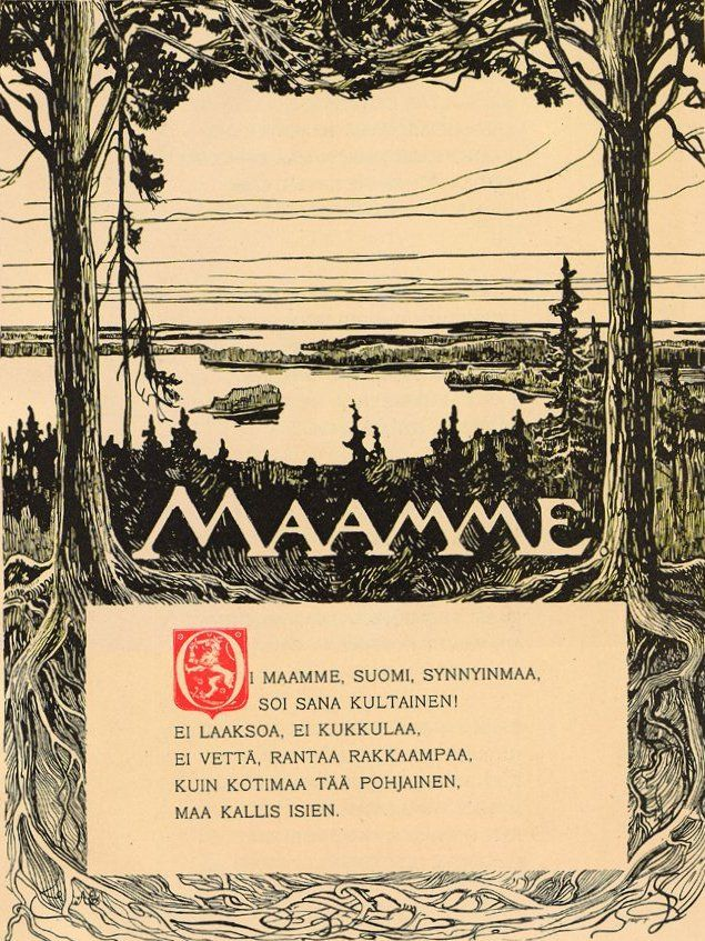 """The Finnish national anthem: """"Maamme"""" by J.L.Runeberg and F.Pacius. First sung in 1848. National awakening began in the mid 1800s"""