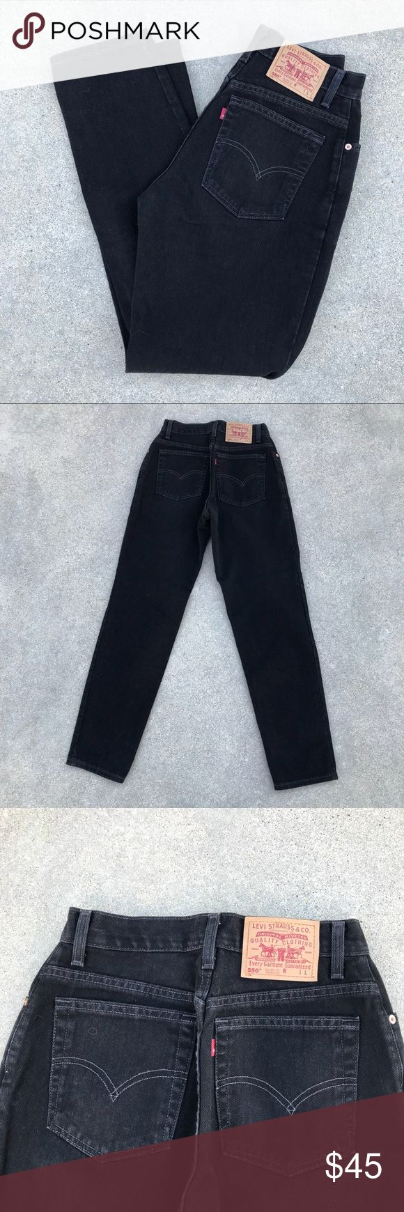Vintage Black Levi 550 Jeans Vintage Black Levi 550 Jeans in size 8 long. Great condition with no signs of wear. Measurements are as follows: Waist: 28 inches  Inseam: 32 inches  Rise: 12 inches Levi's Jeans