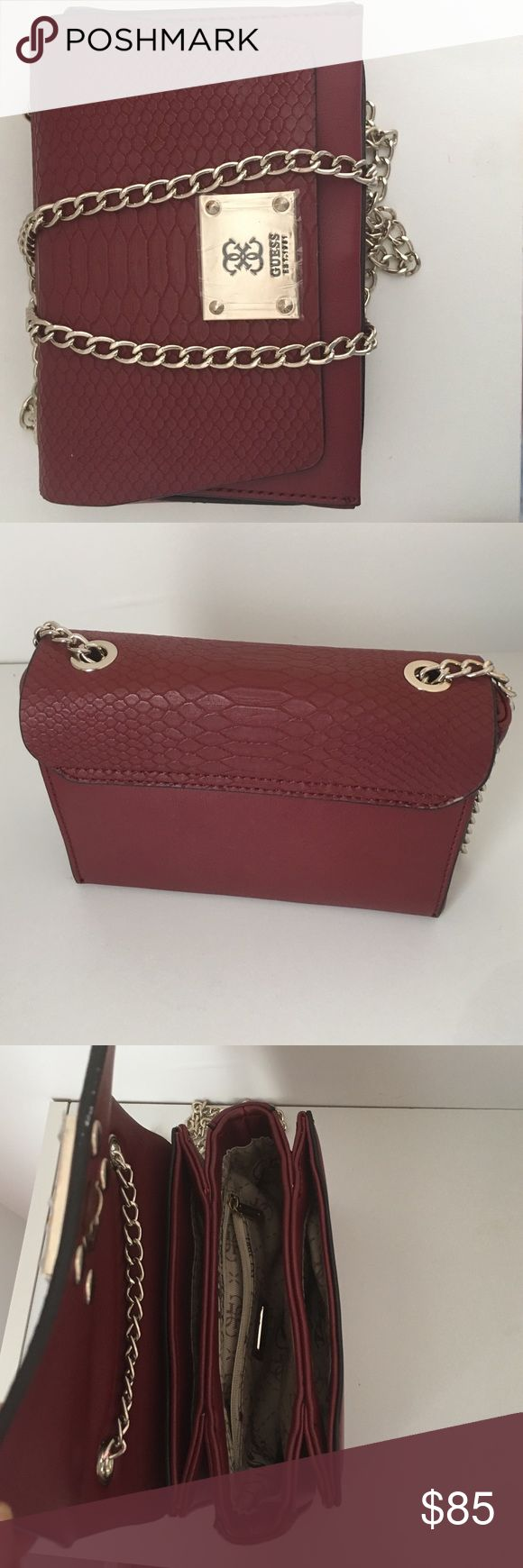 Angela cross body purse A timeless quilted burgundy  design  makes this cross-body the perfect addition to your handbag collection. Team it with both daytime and after-dark looks for chic, on-trend finish. Guess Bags Shoulder Bags