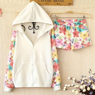 Ringnor – Set: Floral Panel Hoodie   Floral Shorts'