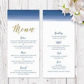 Blue Ombre Watercolour Wedding Menu, Navy and Gold, Professionally Printed, Peach Perfect Australia