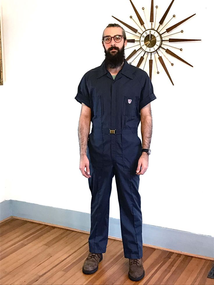 Vintage 70s Nautical Jumpsuit Navy Blue Mechanic Romper Unisex Onepiece Workman Overalls Gas Station Attendant One Piece 1970s Coveralls by PosiesForLuluVintage on Etsy