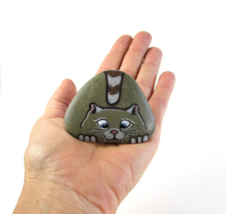 Hand Painted River Rock Cat Miniature by qvistdesign