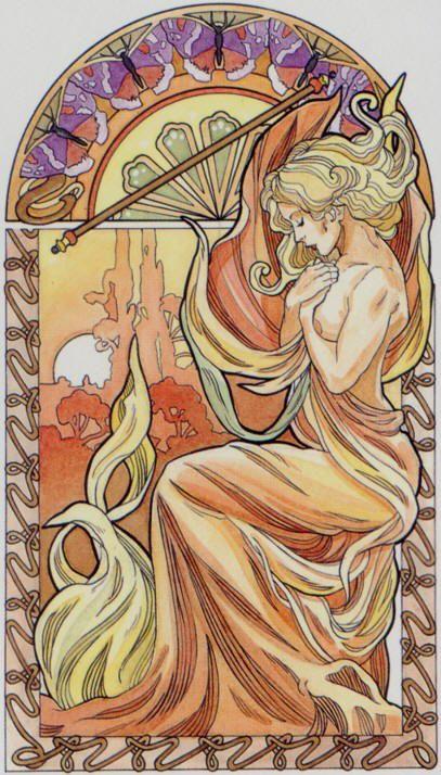 L'as de bâtons - Tarot art nouveau par Antonella Castelli