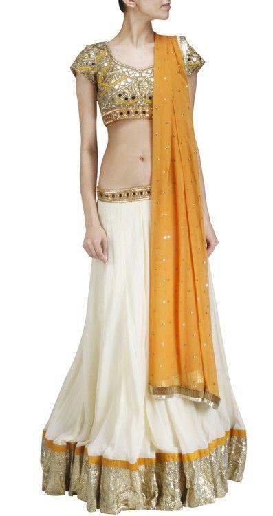 white and golden lehanga choli